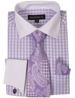 Mens White Collar Dress Shirt Lilac Checker Tie Set AH615