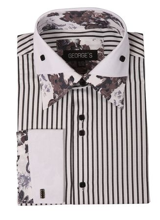 High Collar Mens Club Shirts Black Stripe Floral AH620 - click to enlarge
