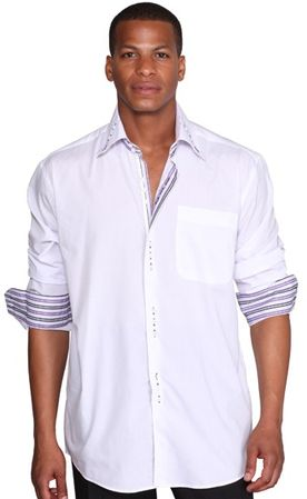George White 3 Button Collar Mens Fashion Shirts AH608 - click to enlarge