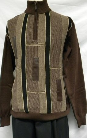 Giogio Mens Brown Fancy Knit Sweater 1567 - click to enlarge