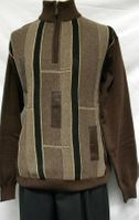 Giogio Mens Brown Fancy Knit Sweater 1567