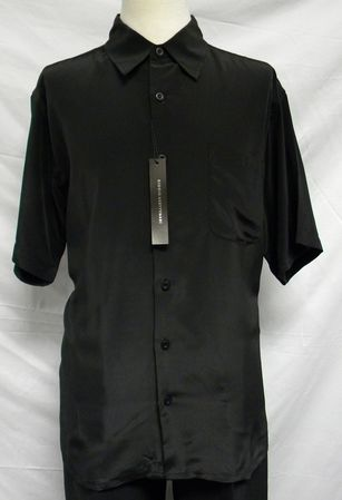 Giogio Mens Solid Black Short Sleeve Casual Shirt 439 Size L