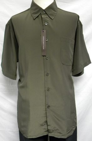 Giogio Mens Solid Olive Short Sleeve Casual Shirt 439
