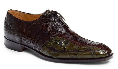Mauri Italy Mens Brown and Green Ostrich and Crocodile Eyes Lace Up Shoes 4787 - click to enlarge