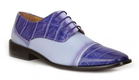 Giorgio Brutini Shoes Mens Purple Alligator Texture Lace Up 211047-2 IS - click to enlarge