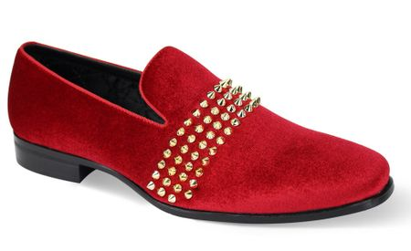 Mens Designer Red Velvet Spike Strap Loafer After Midnite 6787