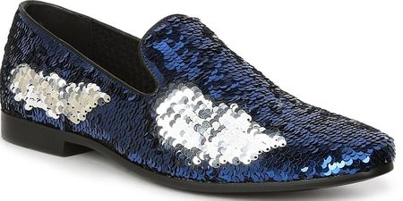 Giorgio Brutini Blue Sequin Designer Smoking Loafers 179303 - click to enlarge