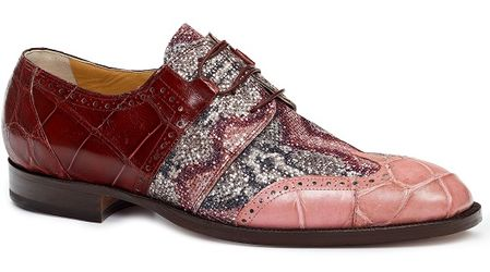 Mauri Italy Mens Pink and Cherry Alligator with Fabric Inlay Lace Up Dress Shoe 53124 - click to enlarge