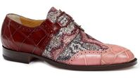 Mauri Italy Mens Pink and Cherry Alligator with Fabric Inlay Lace Up Dress Shoe 53124