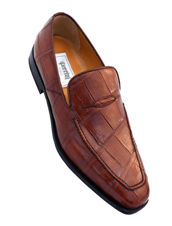 Men's Cognac Crocodile Loafer Penny Style Ferrini 3877