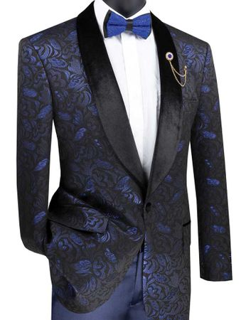 Men's Blue Metallic Floral Sport Coat Flower Jacket Velvet Lapel BF-1