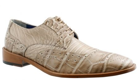Giorgio Brutini Mens Beige Croc Print Wingtip Shoes 210779 IS - click to enlarge
