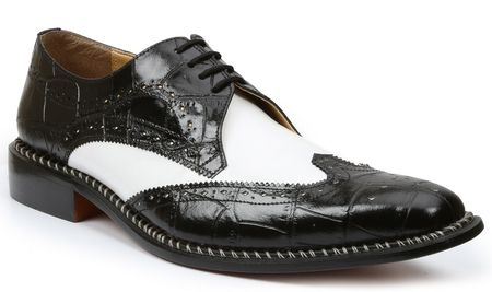 Giorgio Brutini Mens Black White Gator Print Wingtip Leather Shoes 210851 IS - click to enlarge