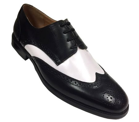 Milano Mens 1920s Black White Leather Wingtip Spectator Shoes 590  IS
