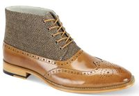 Giovanni Mens Tan Wingtip Tweed and Leather Dress Boots Griffin