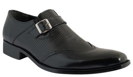 Giorgio Brutini Mens Black Monk Strap U Wing Loafers 210521 IS - click to enlarge