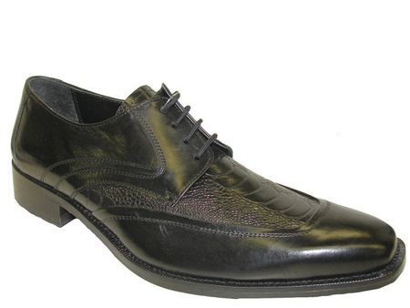 Giorgio Brutini Mens Black Ostrich  Print Leather Wingtips 210601 IS - click to enlarge