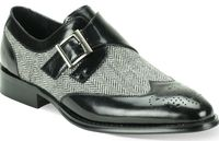 Giovanni Mens Black Leather Tweed Strap Wingtip Dress Shoes 6641