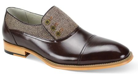Giovanni Mens Chocolate Tweed Leather 3 Button Cap Toe Laceless Shoes Gino