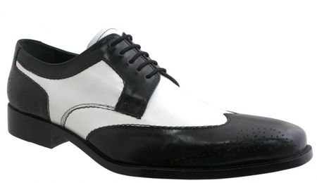 Giorgio Brutini Mens Black White Wing Tip Spectator Shoes 210711 IS - click to enlarge