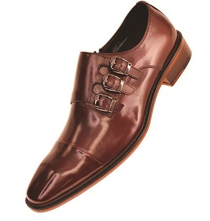 Steven Land Brown 3 Buckle Leather Dress Shoes SL308 Size 10, 14