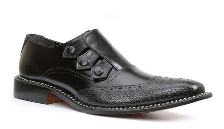 Giorgio Brutini Mens Black Triple Snap Leather Dress Shoes 211011 IS - click to enlarge