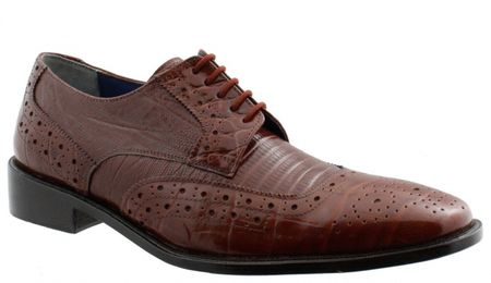 Giorgio Brutini Mens Brown Croc Print Wingtip Shoes 210774 IS - click to enlarge