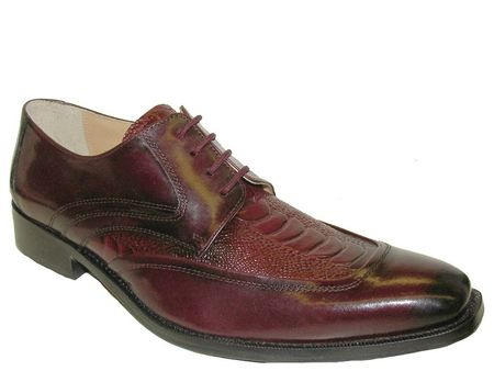 Giorgio Brutini Mens Burgundy Ostrich  Print Leather Wingtips 210607 IS - click to enlarge