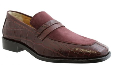 Giorgio Brutini Mens Burgundy Suede Top Croc Print Loafers 210567 IS  - click to enlarge