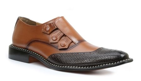 Giorgio Brutini Mens Brown Tan Triple Snap Leather Dress Shoes 211012-4 IS - click to enlarge