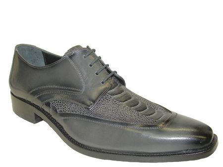 Giorgio Brutini Mens Charcoal Gray Ostrich  Print Leather Wingtips 210608 IS - click to enlarge