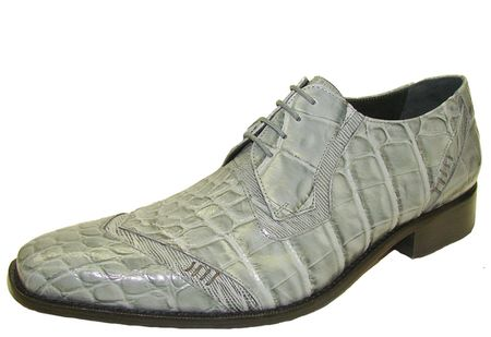 Giorgio Brutini Mens Gray Crocodile Print Leather Shoes 210178
