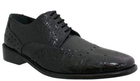 Giorgio Brutini Mens Black Croc Print Wingtip Shoes 210771 IS - click to enlarge