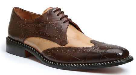 Giorgio Brutini Mens Brown Tan Gator Print Wingtip Leather Shoes 210852-4 IS - click to enlarge