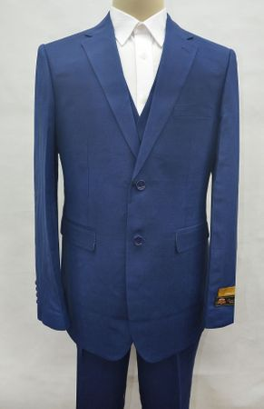 Blue Linen Suit Men's Summer 3 Piece Alberto Linen-2BV