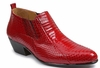 Giorgio Brutini Mens Red Snakeskin Cuban Heel Boots 150640