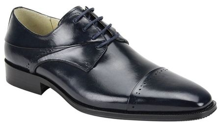 Giovanni Mens Navy Polished Leather Cap Toe Dress Shoes Hudson