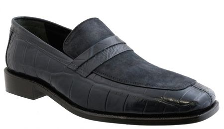 Giorgio Brutini Mens Navy Suede Top Croc Print Loafers 210563 IS