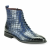 Giovanni Mens Blue Gator Print Leather Dress Boots Corbin htm