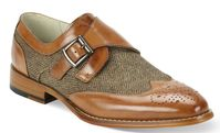 Giovanni Mens Tan Leather Tweed Strap Wingtip Dress Shoes 6641 htm