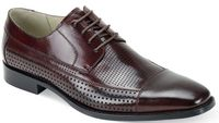 Giovanni Mens Burgundy Perforated Leather Cap Toe Dress Shoes Diego