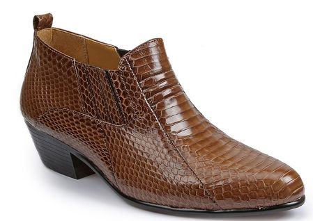 Giorgio Brutini Mens Taupe Snakeskin Cuban Heel Boots 150646 - click to enlarge