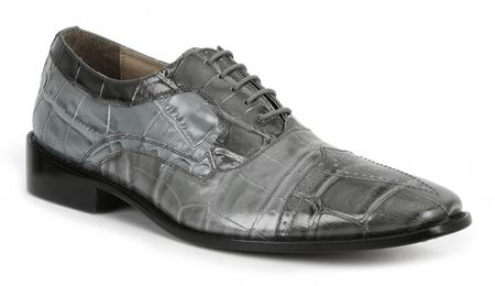 Giorgio Brutini Shoes Mens Gray Alligator Print Lace Up 211038 IS  - click to enlarge