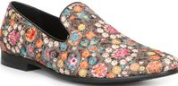 Giorgio Brutini Multi Color Embroidered Floral Pattern Smoking Slippers 179332