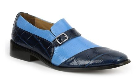 Giorgio Brutini Shoes Mens Blue Sky Gator Texture Slip On 211053 IS  - click to enlarge