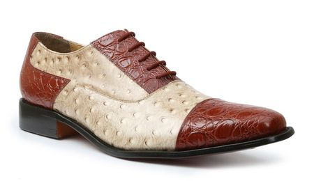 Giorgio Brutini Shoes Mens Cognac Beige Ostrich Print Cap Toe 210904-6 IS