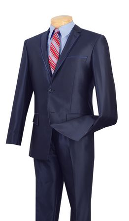 Young Mens Shiny Style Slim Fit Suit Blue 2 Button 2 Piece Vinci S2RR-4