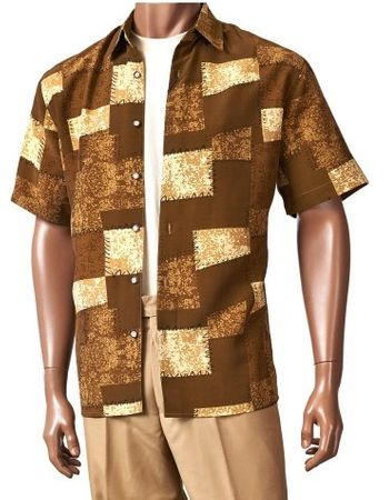 Giorgio Inserch Mens Brown Short Sleeve Pattern Shirt 87627-2 Size M