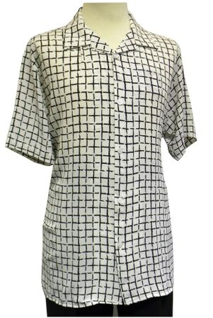 Pronti Men's White Square Pattern Crepe Short Sleeve Casual Shirt 6176 Size XL - click to enlarge