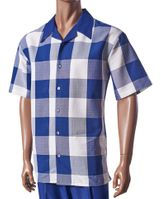 Giorgio Inserti Inserch Mens Blue Square Plaid Leisure Outfit 733